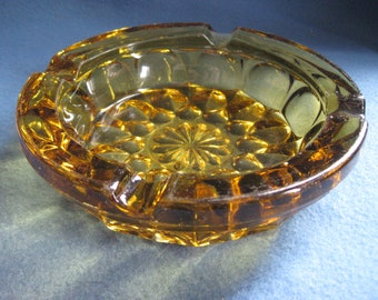 Vintage, 1960s, Amber, Glass, Ashtray