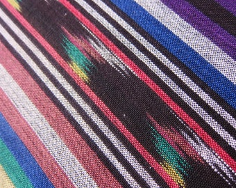 Vintage fabric,  Woven  ikat cotton,  striped  ikat fabric,  three yards plus, rich colours