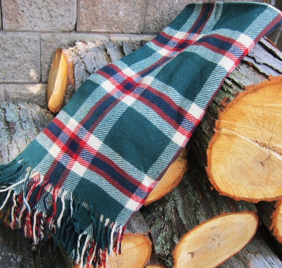 Plaid WOOL Blanket CAR RUG Picnic 1940s 50s