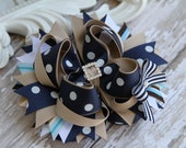 School Uniform hair bow. Navy and khaki. Back to school  Stacked Boutique Bow