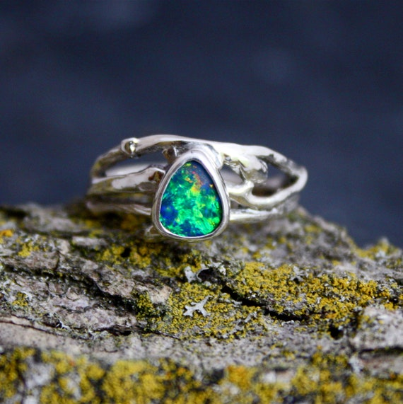 Amazing Blue/Green Natural Fire Opal Branch Ring