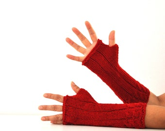 Gloves Fingerless Gloves Armwarmers Red Long Wrist Warmers Hand Knit Warm Cozy
