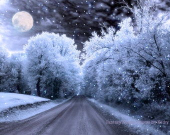Nature Photography, Surreal Blue Moon Landscape, Winter Fantasy Nature Photo, Blue Full Moon Sparkling Stars Tree, Dreamy Nature Photograph