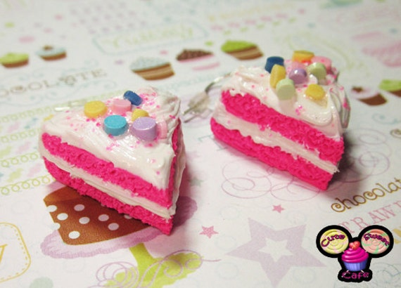 Hot Pink Party Confetti Cake Slice Earrings