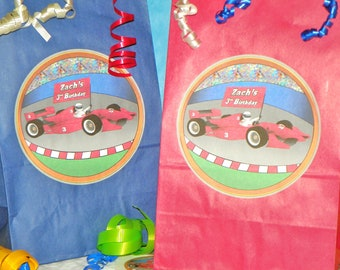 Boy Race Car Party Favor Goody Bags w/Sticker Seals Included. Custom Race Car Birthday. Race Party. Car Party. Set of 10