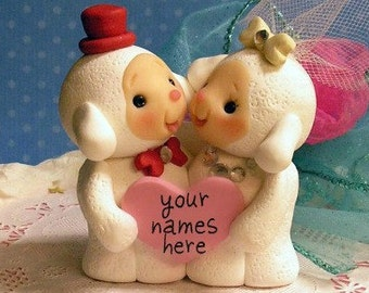 Lambs Sweet and Lovey Lamb Wedding Cake Topper Made  to Order with Your Colors and Names on  Personalized on Heart