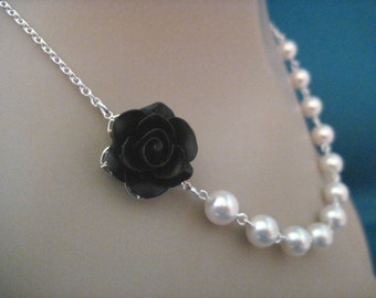 Bridal Jewelry Black Rose and White Pearl Bridesmaid Necklace