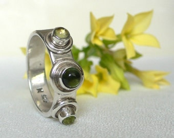 SALE - Green Tourmaline and Peridot Silver Bauble Ring