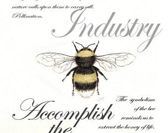 Bumble Bee Symbolism print