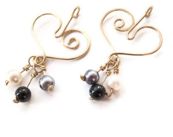 Heart Earrings Gold with Pearl Dangles, Hammered
