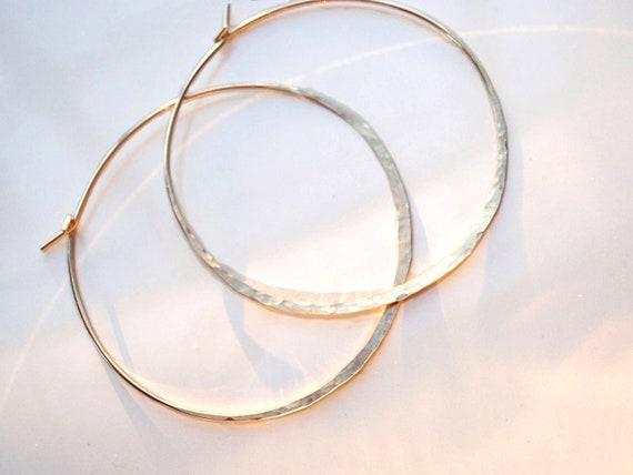 Gold Large Hoop Earrings, Hammered, Textured 18g