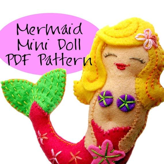Mermaid Mini Doll Pdf Pattern Diy Felt Doll Ornament