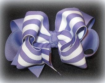 Hair Bows, Hairbows, Purple hair Bows, Lavender striped Bow, Girls Hairbows, Boutique Hair Bows, Large Hair Bow, Girls Hair Bows, Baby Bows