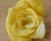 Felted yellow rose  flower brooch pin of fine merino wool