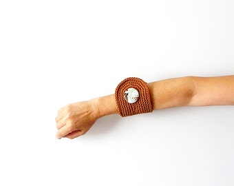 Nut Brown Wrist Cuff with Vintage Floral Fabric Button OOAK