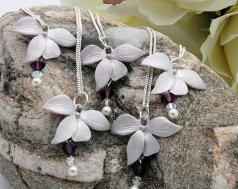 Orchid bridesmaid necklace set- rhodium plated flower with Swarovski crystal and pearl- sterling silver chains- available to personalise