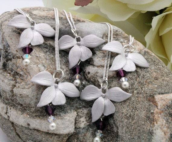 Orchid bridesmaid necklace set- Five piece rhodium plated with Swarovski crystal and pearl- sterling silver chains- available to personalise