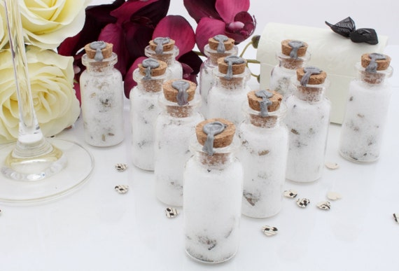 50 Essential oil lavender bath salts wedding favours- glass vials with lavender flowers and silver wax seal with heart stamp