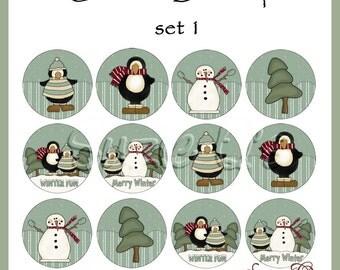 Christmas Bottlecap images Set 1 - 4 x 6 sheet  - Digital Printable - Immediate Download