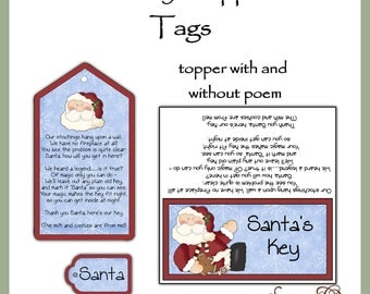 Santa's Key toppers and tags set - Digital Printable - Good Craft Show Seller - Immediate Download