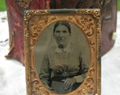 Antique tintype of woman, ornate gold frame, lovely antique, scary woman photo, victorian era picture, altered art mixed media supply