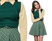 RESERVED 60s Mod Dress Mini Plaid Geek Chic 1960s Dolly Collar 70s Belted Forest Green Beige High Waist Vintage Long Sleeve Dress