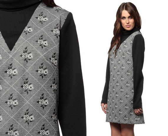Mod XL Dress 60s Grey Floral Print 1960s Shift Mini Vintage Turtleneck 70s Long Sleeve Black Diamond 1970s Plus Size Extra Large