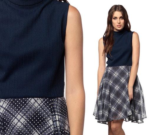 Plaid Mod Dress 1960s Mini Navy Blue White 60s Full Skirt Polka Dot 70s Preppy Sleeveless High Waisted Vintage Turtleneck Dress Medium M