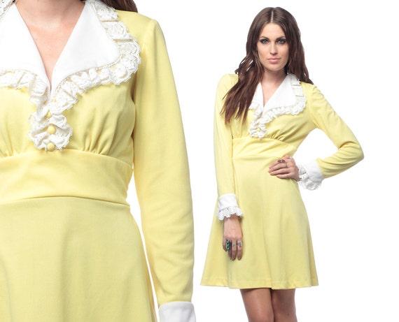 60s Dolly Dress Mod Ruffle Collar Mini 1960s Babydoll Pale Yellow and White Tuxedo Victorian Vintage Empire Long Sleeve Dress Medium Large