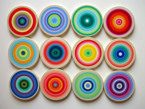 Original Canvas Circles Set of 12 Beautiful Colorful Halos Acrylic on Cotton Stretched Canvas Circle Frames Ready to ship