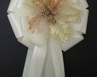 6 IVORY Ribbon w/Christmas Tan/Gold/Cream Leafs/Leaves Pew Bows - Wedding Decorations