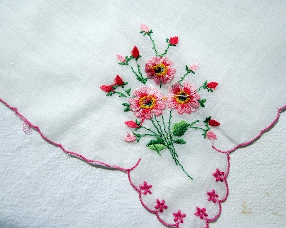 Pink Floral Embroidery on  White Hanky/Handkerchief. Pink Scalloped Edge
