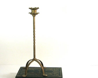Tall Metal Candlestick Gold Painted Antique Candle Holder