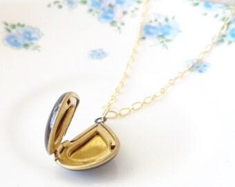 Enamel Teardrop Locket -  16k Gold Plated - Bridal - Bridesmaid - Keepsake - Black Enamel Locket