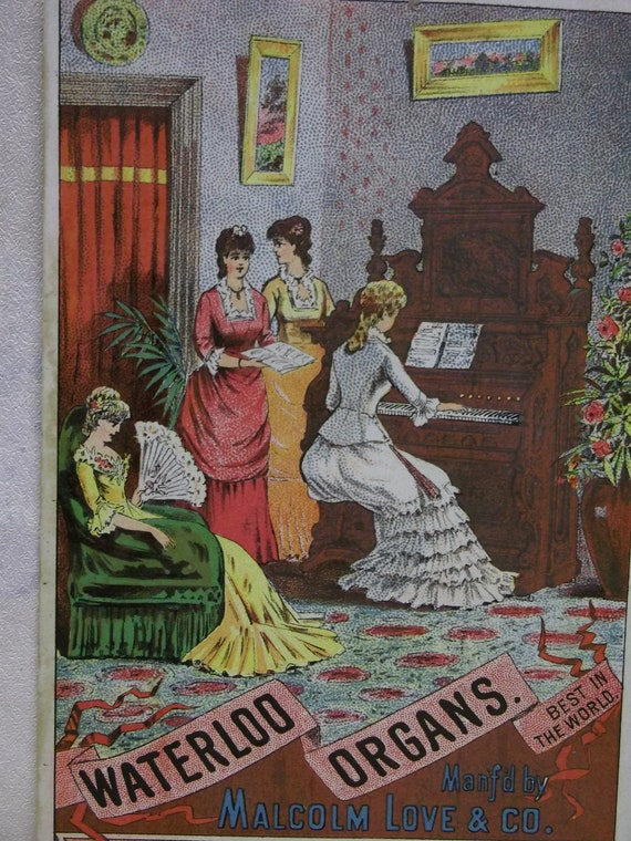 Fancy Dressed Ladies Playing Organ in the Parlor - Rare Victorian Trade Card - Waterloo Organs- 1800's