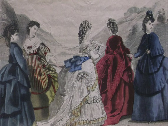 5 Pretty Ladies in Lovely Bustle Dresses - Les Modes Parisiennes' Peterson's Magazine Plate - 1871