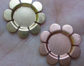Copper or Brass Recessed Flower Stampings(one pair)