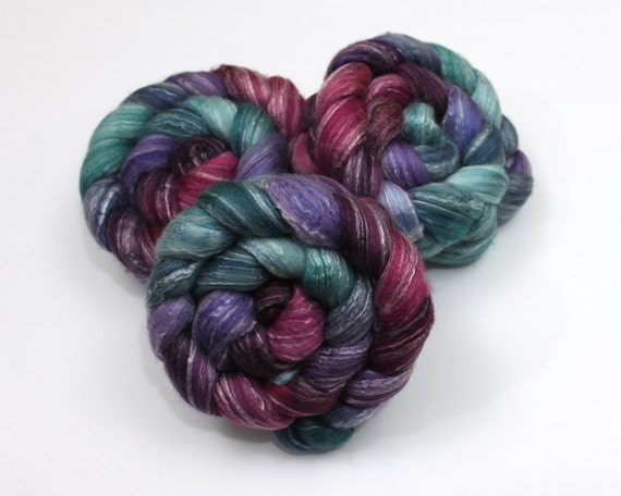 Merino Wool/ Bamboo/ Silk Roving - Handpainted Spinning Fiber