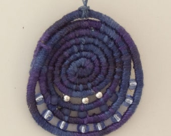 Adjustable Coiled Necklace in Shades of Blue Item 553