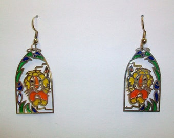 Vintage Stained Glass Lion Earrings DEADSTOCK