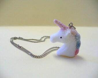 Flocked Sparkly Rainbow Unicorn Necklace