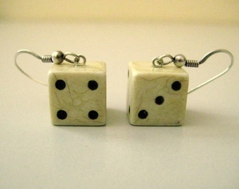 Handmade Vintage Off White Plastic Dice Earrings 1/2 inch