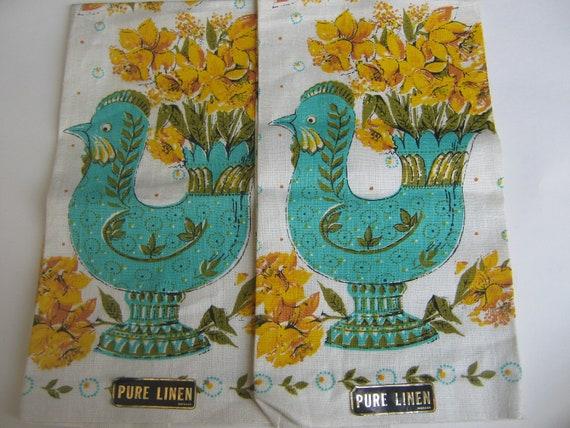 Vintage New Turquoise Hen  Linen Tea Towels 1 pair