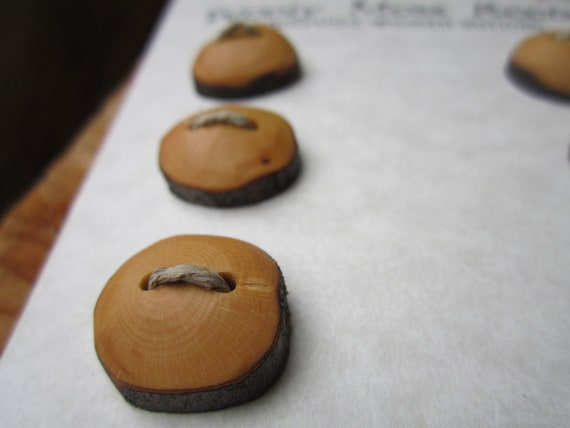 8 Wood Buttons- Huckleberry Wood- Knitting, Sewing and Craft Buttons