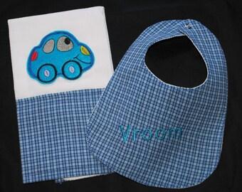 Baby Boy or Girl Herbie The Love Bug  Burp Cloth and Bib Set in Blue Plaid