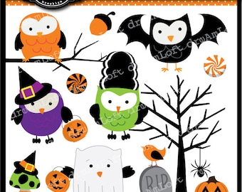 Halloween Owls Collection Clip Art for digital scrapbooking, cardmaking, and commercial use.