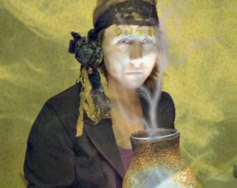 Fortune Teller Headband Halloween Women Madame de Farge Parlor Blue Velvet Gypsy Lace OOAK