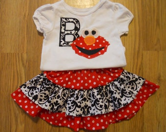 Boutique Elmo Birthday Outfit with Twirl Skirt with inital or number soo cute sizes 12 months- 5t