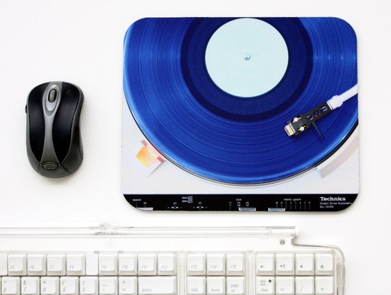 Music Mouse Pad Blue Vinyl Record for School or Dorm