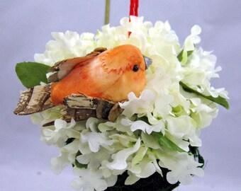 Bird on Moss Ball Christmas Ornament 302